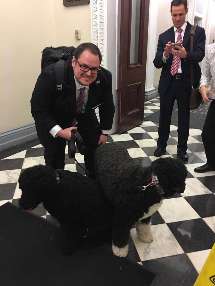 With Obama's dogs Bo and Sunny at The White House.
